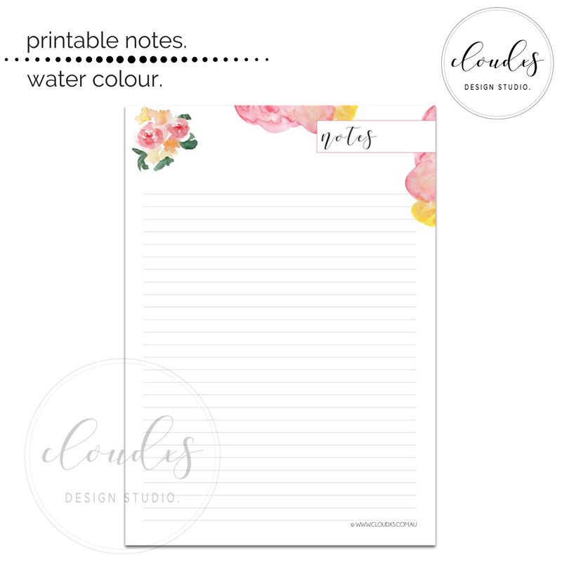 Printable Note - Water Colour
