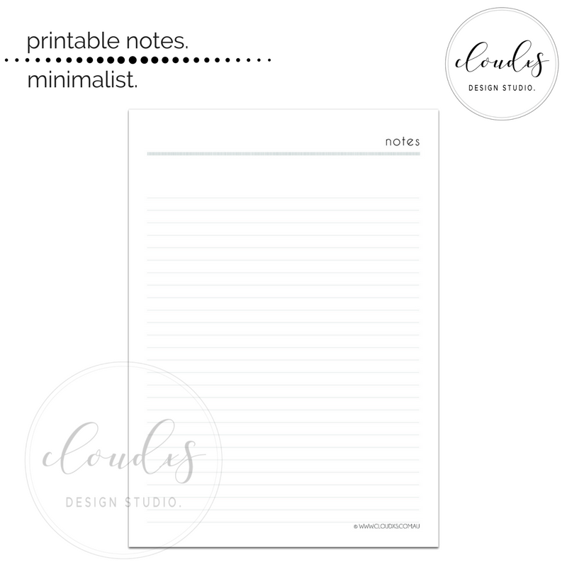 Printable Notes - Minimalist