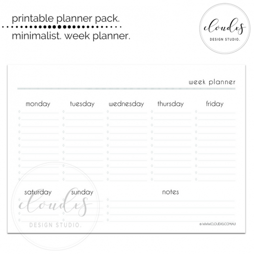 Printable - Week Planner - Minimalist